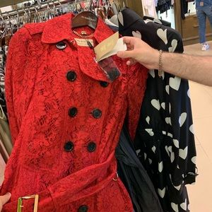 Burberry red lace coat. UK 10